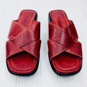 Cole Haan • Red Leather Slide Sandals • 7.5 B